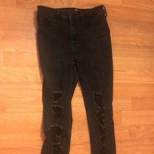 Black Hollister Super Skinny Ripped Jeans